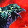 "McTavish the Raven, 24"" x 24"", acrylic on canvas"