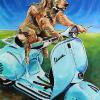 "Vespa Dog, 24"" x 36"", acrylic on canvas"