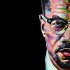 "Malcolm X, 12"" x 24"", acrylic on canvas"