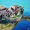 "Westwood the Sea Turtle, 30"" x 30"", acrylic on canvas"